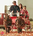 WOODBURY,CT. 11/21/98--1121SV06.tif-- Carl Lurix of Woodbury gives Anna MCHugh and her daughter Ashley,3, of Woodbury a wagon ride at the Woodbury North Congregational Church Christmas Fair on Saturday. Steven Valenti Photo