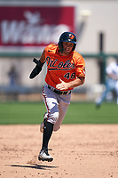 Baltimore Orioles Shayne Fontana (48) running the bases during a Minor League Spring Training game against the Detroit Tigers on April 14, 2021 at Joker Marchant Stadium in Lakeland, Florida.  (Mike Janes/Four Seam Images)