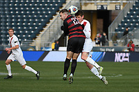 Chester, PA - Sunday December 10, 2017: Sam Werner, Trevor Swartz during the NCAA 2017 Men's College Cup championship match between the Stanford Cardinal and the Indiana Hoosiers at Talen Energy Stadium.