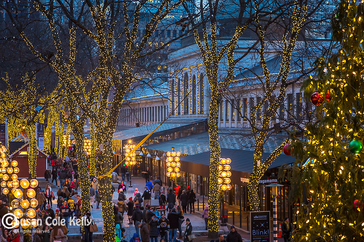 Holiday lights at Quincy Market in the Faneuil Hall Marketplace, Boston, Massachusetts, USA