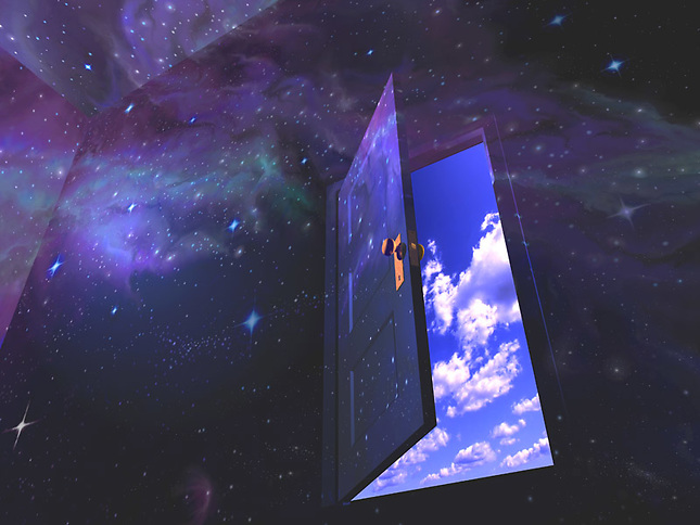Room and door mapped with nebula and stars