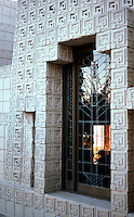 F.L. Wright: Ennis-Brown House. Window detail.  Photo '82.