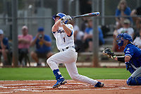 Pitt Panthers Nico Popa (1) bats during the teams opening game of the season against the Indiana State Sycamores on February 19, 2021 at North Charlotte Regional Park in Port Charlotte, Florida.  (Mike Janes/Four Seam Images)