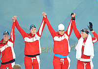 July 28, 2012: Pernille Blume, Mie Nielsen, Lotte Friis and Jeanette Ottesen Gray of Denmark arrive to compete in Women's 4x100 meter freestyle relay final at the Aquatics Center on day one of 2012 Olympic Games in London, United Kingdom.