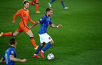 Italy's Ciro Immobile, right, is challenged by Netherlands's Frankie de Jong during the UEFA Nations League football match between Italy and Netherlands at Bergamo's Atleti Azzurri d'Italia stadium, October 14, 2020.<br /> UPDATE IMAGES PRESS/Isabella Bonotto