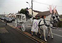 """COPY BY TOM BEDFORD<br />Pictured: The horse-drawn white carriage and the funeral cortege leaves from the family home in Merthyr Tydfil, Wales, UK. Friday 18 August 2017<br />Re: The funeral of a toddler who died after a parked Range Rover's brakes failed and it hit a garden wall which fell on top of her will be held today at Jerusalem Baptist Chapel in Merthyr Tydfil.<br />One year old Pearl Melody Black and her eight-month-old brother were taken to hospital after the incident in south Wales.<br />Pearl's family, father Paul who is The Voice contestant and mum Gemma have said she was """"as bright as the stars""""."""