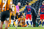 Hull City defender Jacob Greaves lies injured after a clash with Sunderland's Charlie Wyke. Hull players alleged the use of an elbow by Wyke.Hull 2 Sunderland 2, League One 20th April 2021.