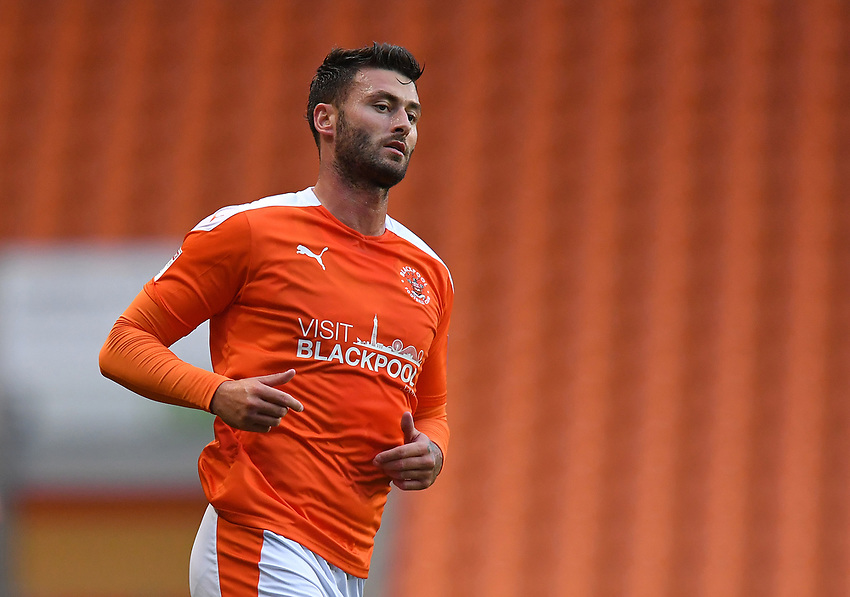 Blackpool's Gary Madine<br /> <br /> Photographer Dave Howarth/CameraSport<br /> <br /> EFL Trophy Northern Section Group G - Blackpool v Barrow - Tuesday 8th September 2020 - Bloomfield Road - Blackpool<br />  <br /> World Copyright © 2020 CameraSport. All rights reserved. 43 Linden Ave. Countesthorpe. Leicester. England. LE8 5PG - Tel: +44 (0) 116 277 4147 - admin@camerasport.com - www.camerasport.com