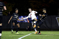 WINSTON-SALEM, NC - NOVEMBER 24: Ben Di Rosa #25 of the University of Maryland and Bruno Lapa #10 of Wake Forest University challenge for the ball during a game between Maryland and Wake Forest at W. Dennie Spry Stadium on November 24, 2019 in Winston-Salem, North Carolina.