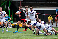 Jarrod Sammut of London Broncos breaks through the Thunder defence during the Betfred Championship match between London Broncos and Newcastle Thunder at The Rock, Rosslyn Park, London, England on 9 May 2021. Photo by Liam McAvoy.
