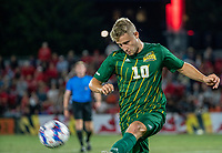 COLLEGE PARK, MD - SEPTEMBER 3: George Mason University midfielder Louis lehr (10) boots the ball away during a game between George Mason University and University of Maryland at Ludwig Field on September 3, 2021 in College Park, Maryland.