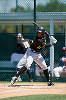 Pittsburgh Pirates Jeremias Portorreal (77) during a minor league Spring Training game against the Atlanta Braves on March 13, 2018 at Pirate City in Bradenton, Florida.  (Mike Janes/Four Seam Images)