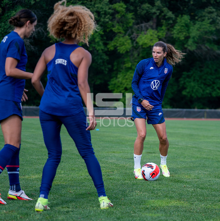 CLEVELAND, OH - SEPTEMBER 14: Tobin Heath of the United States passes the ball during a training session at the training fields on September 14, 2021 in Cleveland, Ohio.