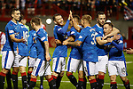 Martyn Waghorn celebrates his second goal of the match for Rangers with Joey Garner