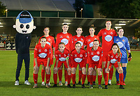 Woluwe's sponsor Domino's Pizza mascot, (back row L to R) Kenza Vrithof (9) of Woluwe, Noemie Fourdin (11) of Woluwe, Noa Corbeels (16) of Woluwe, Celine Verdonck (27) of Woluwe, Marie Bougard (10) of Woluwe, goalkeeper Zelie Lambert (1) of Woluwe (front row L to R) Jana Janssens (22) of Woluwe, Jana Simons (8) of Woluwe, Stefanie Deville (18) of Woluwe, Lotte Michiels (15) of Woluwe and Taika De Koker (20) of Woluwe pose for a team photo before a female soccer game between FC Femina White Star Woluwe and Oud Heverlee Leuven on the fourth matchday in the 2021 - 2022 season of Belgian Scooore Womens Super League , Friday 10 th of September 2021  in Woluwe , Belgium . PHOTO SPORTPIX | SEVIL OKTEM