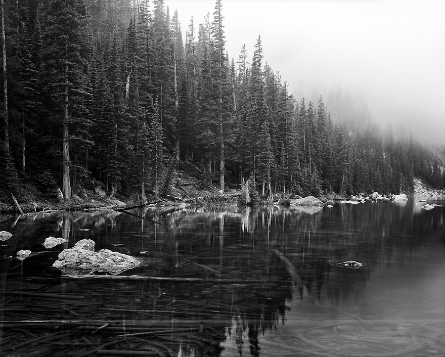 """""""Fog Over Dream Lake""""<br /> Rocky Mountain National Park, Colorado<br /> <br /> <br /> Dream Lake may be one of the most beautiful lakes in the Rocky Mountains with its clear, cold waters and dense alpine forest.  Shrouded in a fine mist of fog, the lake provides a dream-like scene to hikers along the Tyndall Gorge."""
