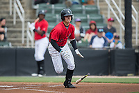 Mitch Roman (10) of the Kannapolis Intimidators starts down the first base line during the game against the Hickory Crawdads at Kannapolis Intimidators Stadium on May 21, 2017 in Kannapolis, North Carolina.  The Intimidators defeated the Crawdads 9-8.  (Brian Westerholt/Four Seam Images)