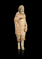 Marble statue of Pan found in Sparta, Pelopenese, 1st Cent AD copy of 4th Cent BC Greek original. Athens Archaeological Museum Cat No 252. Against black<br /> <br /> Pan, the goat footed god wears an animal pelt from which protrude only his jhairy legs. In his left hand he is holding pan pipes. The expression on his bestial featured face is softened by a broad smile.