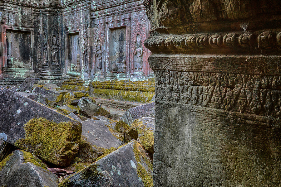 Cambodia.  Ta Prohm Temple Ruins, 12th-13th. Century.  Devatas (Deities) Line the Wall of an Interior Courtyard in Ruins.