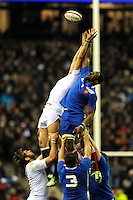 Yannick Nyanga of France jumps in the lineout against Tom Wood of England during the RBS 6 Nations match between England and France at Twickenham on Saturday 23rd February 2013 (Photo by Rob Munro)