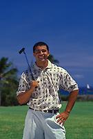 Young man playing golf at Koko Head Golf Course