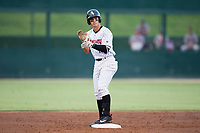 Mitch Roman (10) of the Kannapolis Intimidators claps his hands after hitting a double against the Hagerstown Suns at Kannapolis Intimidators Stadium on June 14, 2017 in Kannapolis, North Carolina.  The Intimidators defeated the Suns 10-1 in game two of a double-header.  (Brian Westerholt/Four Seam Images)