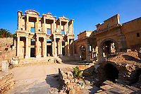 Photo of The library of Celsus. Images of the Roman ruins of Ephasus, Turkey. Stock Picture & Photo art prints 5