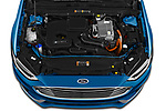 Car Stock 2019 Ford Fusion-Hybrid SEL 4 Door Sedan Engine  high angle detail view