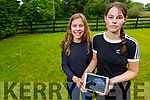Presentation Castleisland students, Emily and Laura Walsh using the padlet app to stay active at home in Cordal on Thursday.