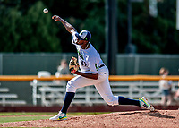 3 September 2018: Vermont Lake Monsters pitcher Jeferson Mejia on the mound in the 8th inning against the Tri-City ValleyCats at Centennial Field in Burlington, Vermont. The Lake Monsters defeated the ValleyCats 9-6 in the last game of the 2018 NY Penn League regular season. Mandatory Credit: Ed Wolfstein Photo *** RAW (NEF) Image File Available ***