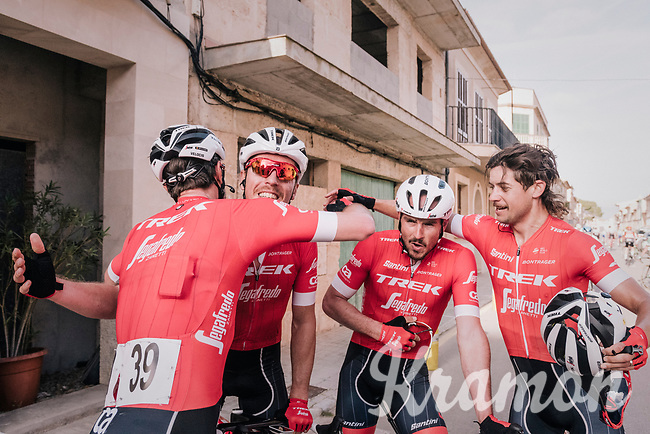 as John Degenkolb (DEU/Trek-Segafredo) wins his very first race of the new season, it's also a team win and the joy is shared after the finish line<br /> <br /> 27th Challenge Ciclista Mallorca 2018<br /> Trofeo Campos-Porreres-Felanitx-Ses Salines: 176km