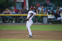 Idaho Falls Chukars third baseman Angel Medina (46) prepares to make a throw to first base during a Pioneer League game against the Great Falls Voyagers at Melaleuca Field on August 18, 2018 in Idaho Falls, Idaho. The Idaho Falls Chukars defeated the Great Falls Voyagers by a score of 6-5. (Zachary Lucy/Four Seam Images)