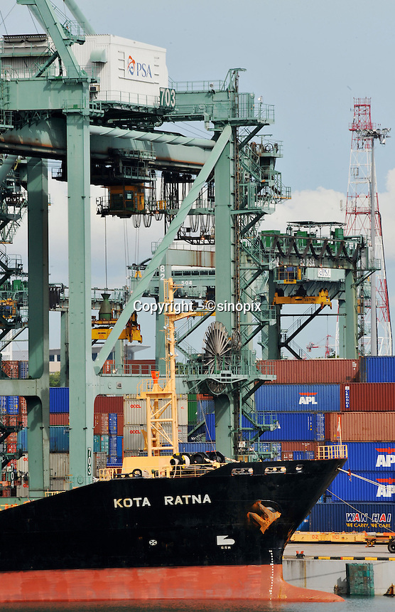 A container ship at Singapore dock..