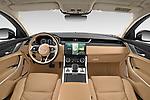 Stock photo of straight dashboard view of 2021 Jaguar XF SE 4 Door Sedan Dashboard