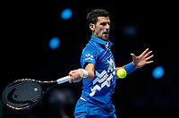 18th November 2020, O2, London, England; Novak Djokovic of Serbia hits a return during the singles group match against Daniil Medvedev of Russia at the ATP  finals in London