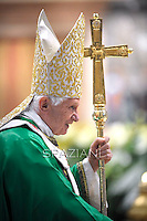 Pope Benedict XVI the on evangelisation mass at Saint Peter Basilica in The Vatican, October 16,2011