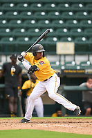FCL Pirates Gold Sergio Campana (10) bats during a game against the FCL Rays on July 26, 2021 at LECOM Park in Bradenton, Florida. (Mike Janes/Four Seam Images)