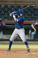AZL Rangers shortstop Jonathan Ornelas (10) at bat during an Arizona League game against the AZL Giants Black at Scottsdale Stadium on August 4, 2018 in Scottsdale, Arizona. The AZL Giants Black defeated the AZL Rangers by a score of 6-3 in the second game of a doubleheader. (Zachary Lucy/Four Seam Images)