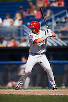 Auburn Doubledays pinch hitter David Kerian (21) at bat during a game against the Batavia Muckdogs on September 5, 2016 at Dwyer Stadium in Batavia, New York.  Batavia defeated Auburn 4-3. (Mike Janes/Four Seam Images)