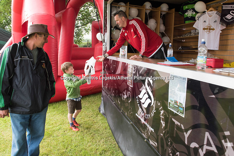 Pictured: Monday 20 July 2015<br /> Re: Swansea City FC event at the Royal Welsh Show in Builth, Wells, mid Wales.