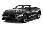 2019 Ford Mustang EcoBoost 2 Door Convertible angular front stock photos of front three quarter view