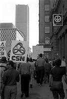 1973 File Photo (exact date unknown) -  CTCUM employee demonstrate in front of CTCUM headquarter on Saint-Antoine street.