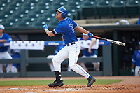 Michael Smiciklas (16) of the Duke Blue Devils follows through on his swing against the Florida State Seminoles in the first semifinal of the 2017 ACC Baseball Championship at Louisville Slugger Field on May 27, 2017 in Louisville, Kentucky. The Seminoles defeated the Blue Devils 5-1. (Brian Westerholt/Four Seam Images)