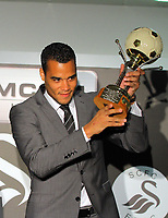 Pictured: Goalkeeper Michel Vorm with his Supporters Player Award. Thursday 10 May 2012<br /> Re: Swansea City FC awards dinner at the Liberty Stadium.