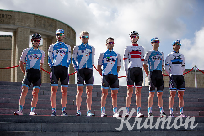 Israël Cycling Academy at the pre race Team Presentation. <br /> <br /> <br /> 1st Great War Remembrance Race 2018 (UCI Europe Tour Cat. 1.1) <br /> Nieuwpoort > Ieper (BE) 192.7 km
