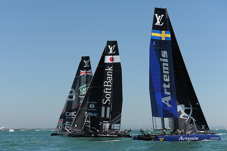 SoftBank Team Japan, JULY 23, 2016 - Sailing: SoftBank Team Japan races against Land Rover BAR and Artemis Racing during day one of the Louis Vuitton America's Cup World Series racing, Portsmouth, United Kingdom. (Photo by Rob Munro/Stewart Communications)