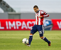 CARSON, CA - June 16, 2012: Chivas USA midfielder Alejandro Moreno (15) during the Chivas USA vs Real Salt Lake match at the Home Depot Center in Carson, California. Final score Real Salt Lake 3, Chivas USA 0.