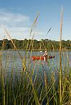 Jody Bundy kayaks along the bank of Church Creek