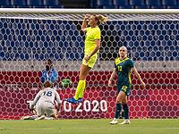 TOKYO, JAPAN - JULY 24: Fridolina Rolfo #18 of Sweden celebrates a goal during a game between Australia and Sweden at Saitama Stadium on July 24, 2021 in Tokyo, Japan.