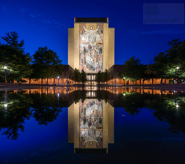 July 14, 2020; Hesburgh Library Word of Life mural, commonly known as Touchdown Jesus (Photo by Matt Cashore/University of Notre Dame)
